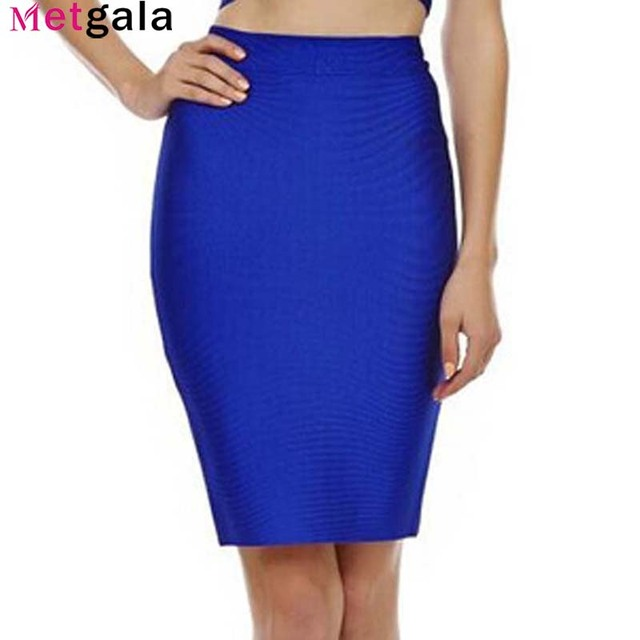 Metgala 2017 Boa Elastic Mulheres Saias Bandage Celebridades Sexy Slim Cor Sólida Preto Azul Vermelho Branco Amarelo Drop Shipping HLS113