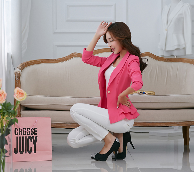 J42738 New Design High Quality Single Button Notched Office Lady Blazer Jacket