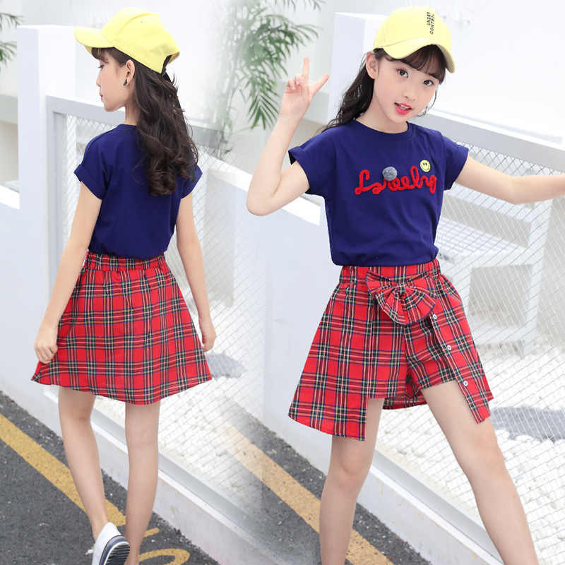 c3385cf482dce 2018 Children's Clothing Summer Girl Top T-shirt + Grid Shorts Suit  Fashionable Clothes for Kids Girls 8 10 11 12 Years Old