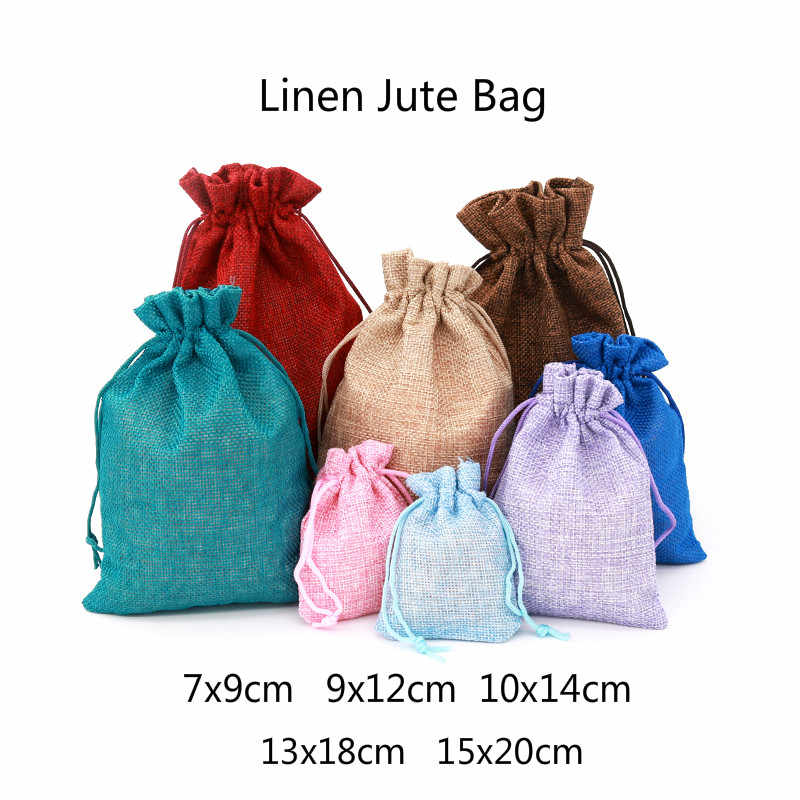 1pc Multi size Linen Jute Drawstring Gift Bags Sacks Wedding Birthday Party Favors Drawstring Gift Bags Baby Shower Supplies