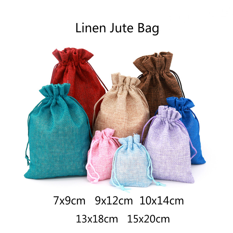 1pc Multi size Linen Jute Drawstring Gift Bags Sacks Wedding Birthday Party Favors Drawstring Gift Bags Baby Shower Supplies(China)
