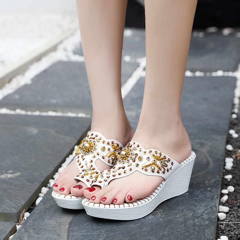 a59c2f326 YMECHIC летнее богемное пляжное вечерние белые свадебные туфли Дамы Bling  шлёпанцы для платформа клин пятки направляющие