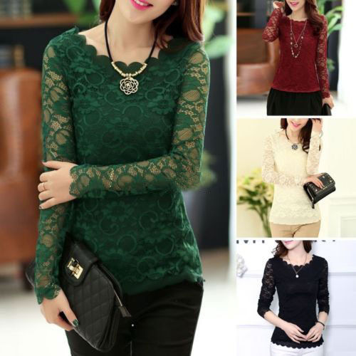 2019 Women Casual Long Sleeve Lace Patchwork Tops Blouse for Ladies 2XL, Navy