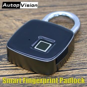Inteligentny Blokada z użyciem linii papilarnych P3 bezpieczeństwa rozpoznawanie linii papilarnych przed kradzieżą kłódki wodoodporna Bezkluczowy zamek do drzwi długi czas czuwania tanie i dobre opinie POMIACAM Smart Fingerprint Lock