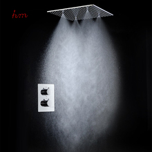 Misty and rainfall led shower head set three functions bath rain auto-thermostat control mixer polished