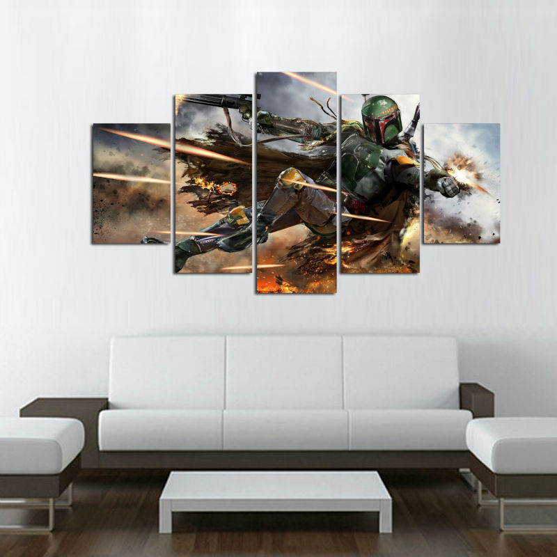 Framed art HD Printed Cartoon Painting star wars fan art Canvas ...