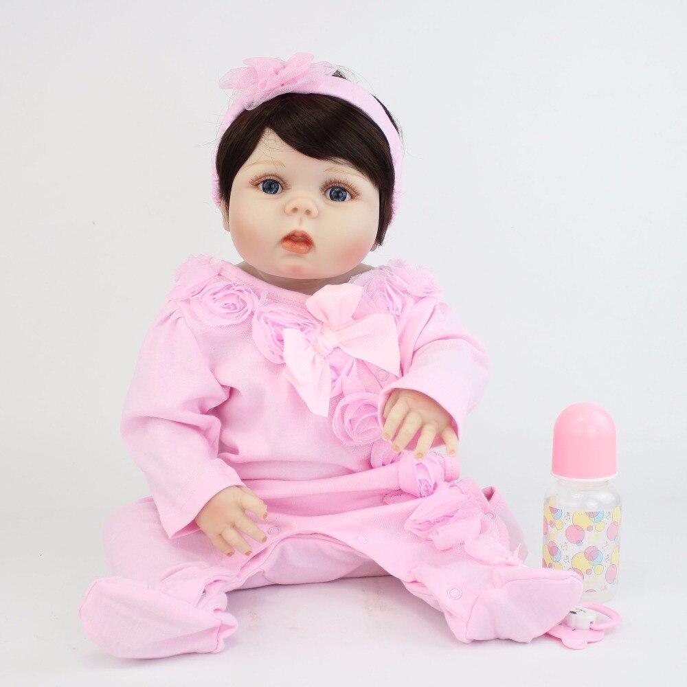 55 см полный силиконовые возрождается детские игрушки куклы реалистичные Bebes жив Vlnyl новорожденных куклы девушки Bonecas купаться игрушка детск...