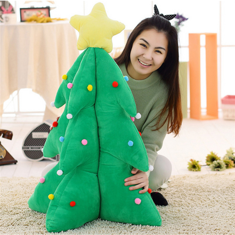 Fancytrader Biggest Giant 110cm Simulated Christmas Tree Toy Plush Stuffed Soft Green Santa Tree Pillow Christmas Decoration fancytrader biggest in the world pluch bear toys real jumbo 134 340cm huge giant plush stuffed bear 2 sizes ft90451