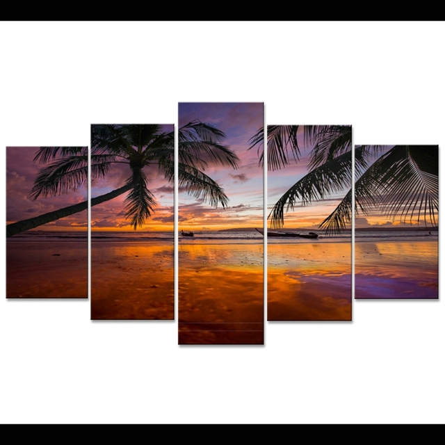 Wall art canvas painting frame hd pictures for room home decor 5 pieces coconut sunset beach