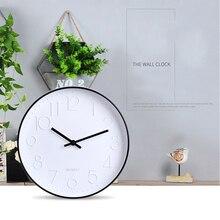 12 inch Modern Living Room Wall Clock Plastic Mirror Circular Wall Watch Brief Quartz Mute Wall
