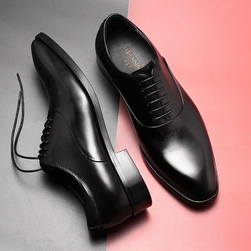 British Men s Natural Genuine Leather Shoes Handmade Business Men Dress Shoes Brand Designer Men Shoes