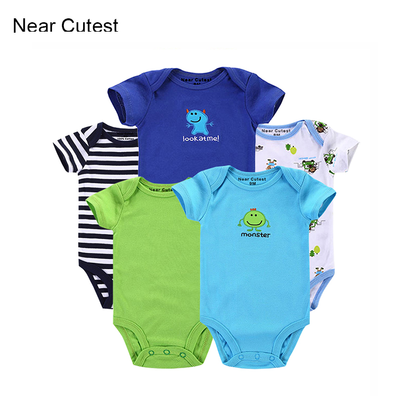Near Cutest 5pcs/lot 2017 Summer Baby Boy Clothes Short Sleeve Cartoon Romper Baby Romper Infant Rompers Baby Boy Girl Clothes 2 pcs lot baby clothes baby boy girls footed romper baby rompers 100
