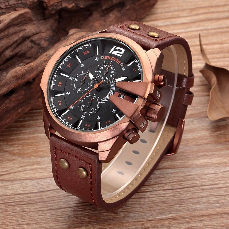 SKONE Watches Men Military Waterproof Leather Auto Date Quartz Wristwatch Sport Clock Male Chronograph Watch Relogio Masculino