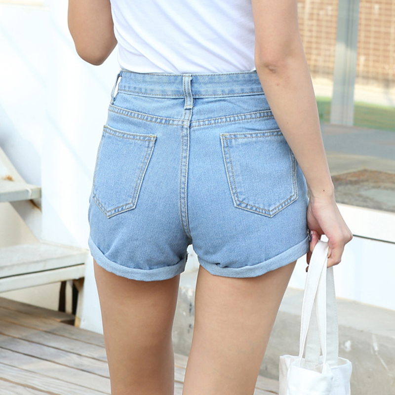 BONJEAN Europe Blue Crimping Denim Shorts For Women 2018 Summer New Brand Trendy Slim Casual Plus Size Womens High Waist Shorts 1