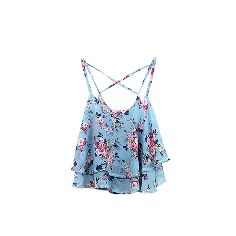a018124307d Women Shirts Tanks Top Summer Clothing Spaghetti Strap Floral Print Chiffon  Shirt Vest Blouses Crop Top