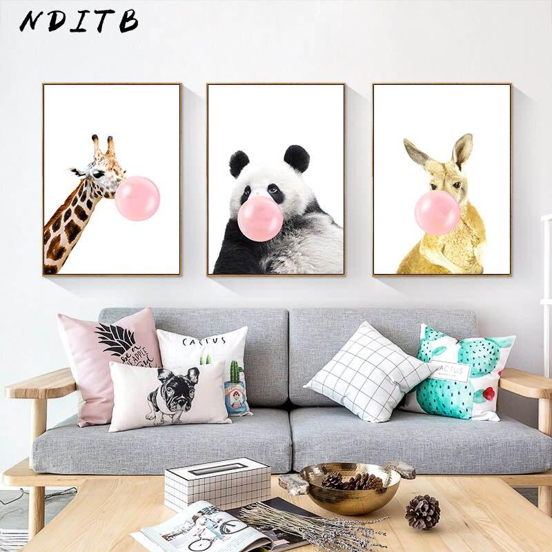 Nditb Woodland Hayvan Bebek Panda Zürafa Tuval Sanat Boyama Kreş