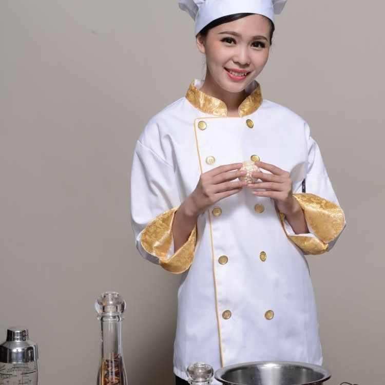 Форма для шеф-повара еда обслуживание куртка китайский дракон печати униформы для официанток Мужская китайская униформа для ресторанов AA447