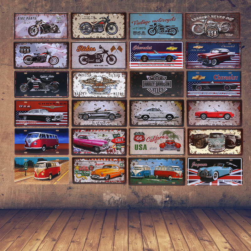 American vintage motorcycle license plate decor luxury for Auto decoration shops in rawalpindi