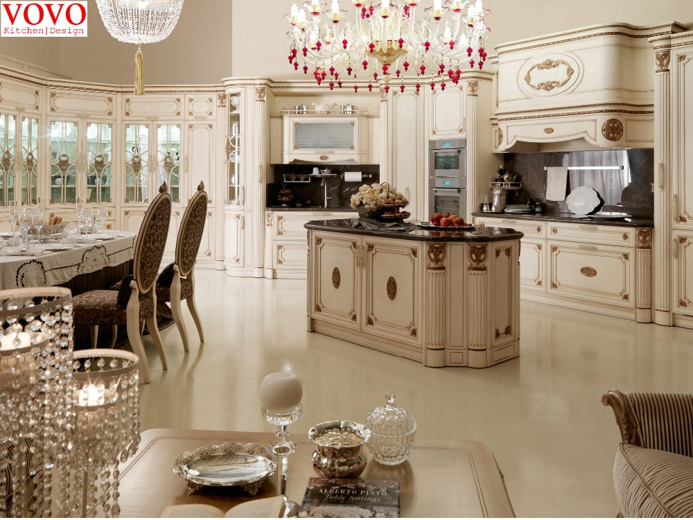 White Solid Wood Kitchen Set With Full Tall Cabinets-in