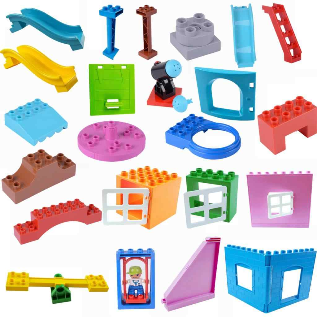 Legoing Duplo Accessories Wall Door Window Big Size Bricks Single Sale Building Blocks Toys for Children Duplo Legoing Parts