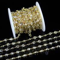 5Meters,Clear White Zircon Chains,Golden Plated Copper Links Jewelry,Faceted Heart Shape Beads for Necklace Earrings,6mm