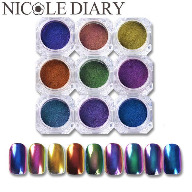 9 Cajas/Set Top-Grade Camaleón Polvo Del Brillo Del Clavo de la Manicura Del Arte Del Clavo Pigmento de Cromo Láser Brilla Base de Negro Color Necesario