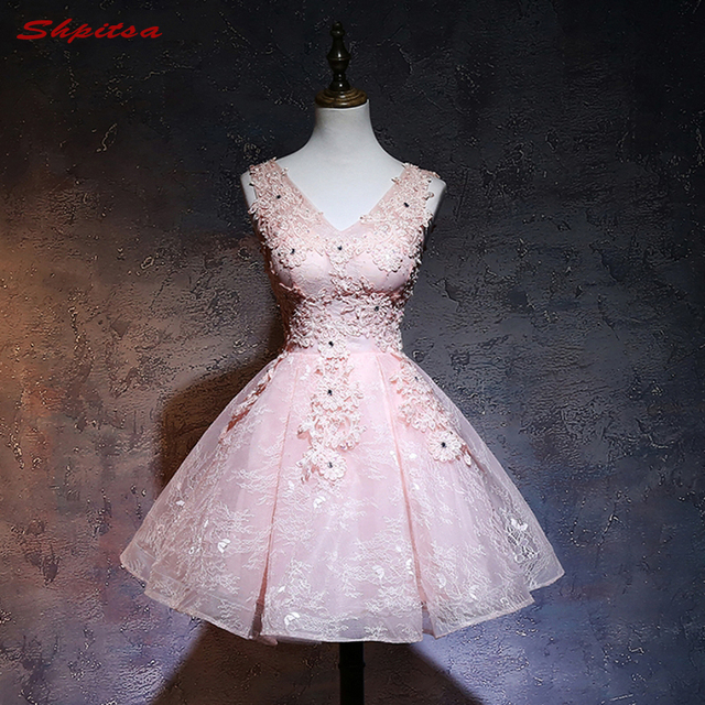 5bb88aef202 Pink Short Lace Homecoming Dresses 8th Grade Prom Dresses Junior High Cute  Graduation Formal Dresses mezuniyet elbiseleri