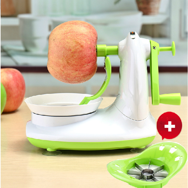 Practical Manual Fruit apple Peeler Apple Slinky peeling machine + Stainless Steel Shredders Slicer Cut the apple device