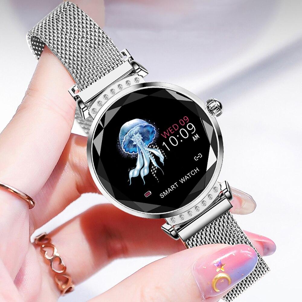 H2 Volemer Moda Mulheres Relógio Inteligente 3D Diamante Coração De Vidro Taxa de Pressão Arterial Monitor de Sono Melhor Presente Senhoras 4 Smartwatch cor