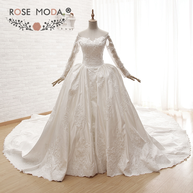 Rose Moda Luxury Off Shoulder Long Sleeves Wedding Ball Gown with Royal Train Illusion Heart Shape Back 5 Meters Train