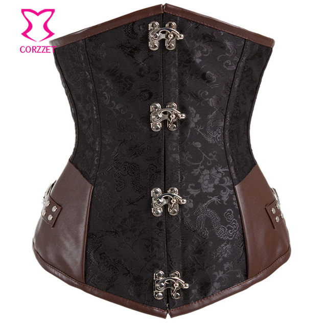 Gothic Black Brocade And Brown Leather Steampunk Corset Underbust Steel Bone Corsets and Bustiers Sexy Korsett For Women Bustier