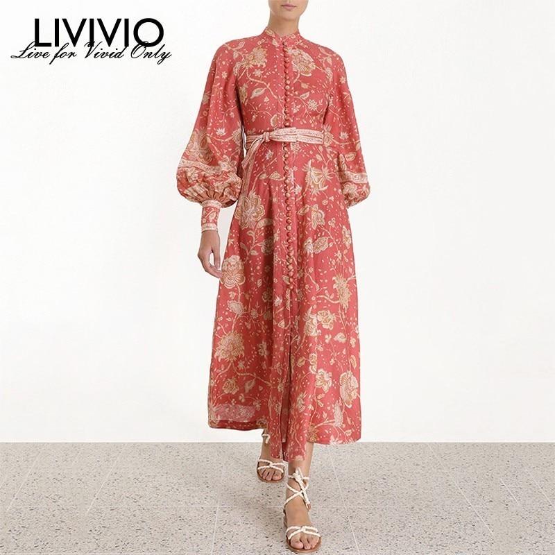 LIVIVIO Bohemain Floral Print Women Summer Sash Lace Up Waisted Elegant Long Maxi Dress Lantern