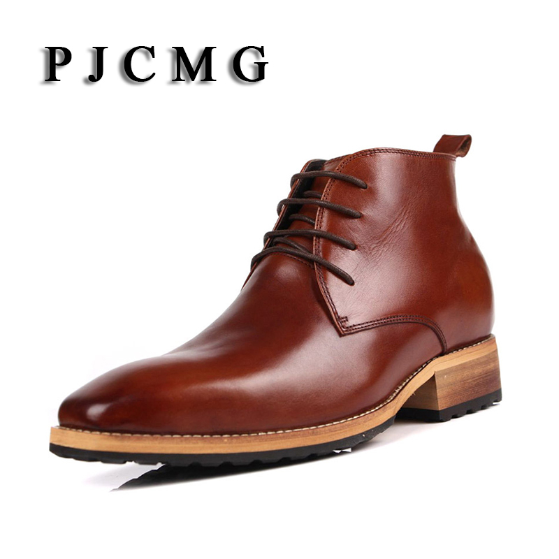PJCMG New Men's High Genuine Leather Elevator 8 CM Brogue Wedding Office Ankle Boots Lace-Up Male Boots Footwear Botas Hombre