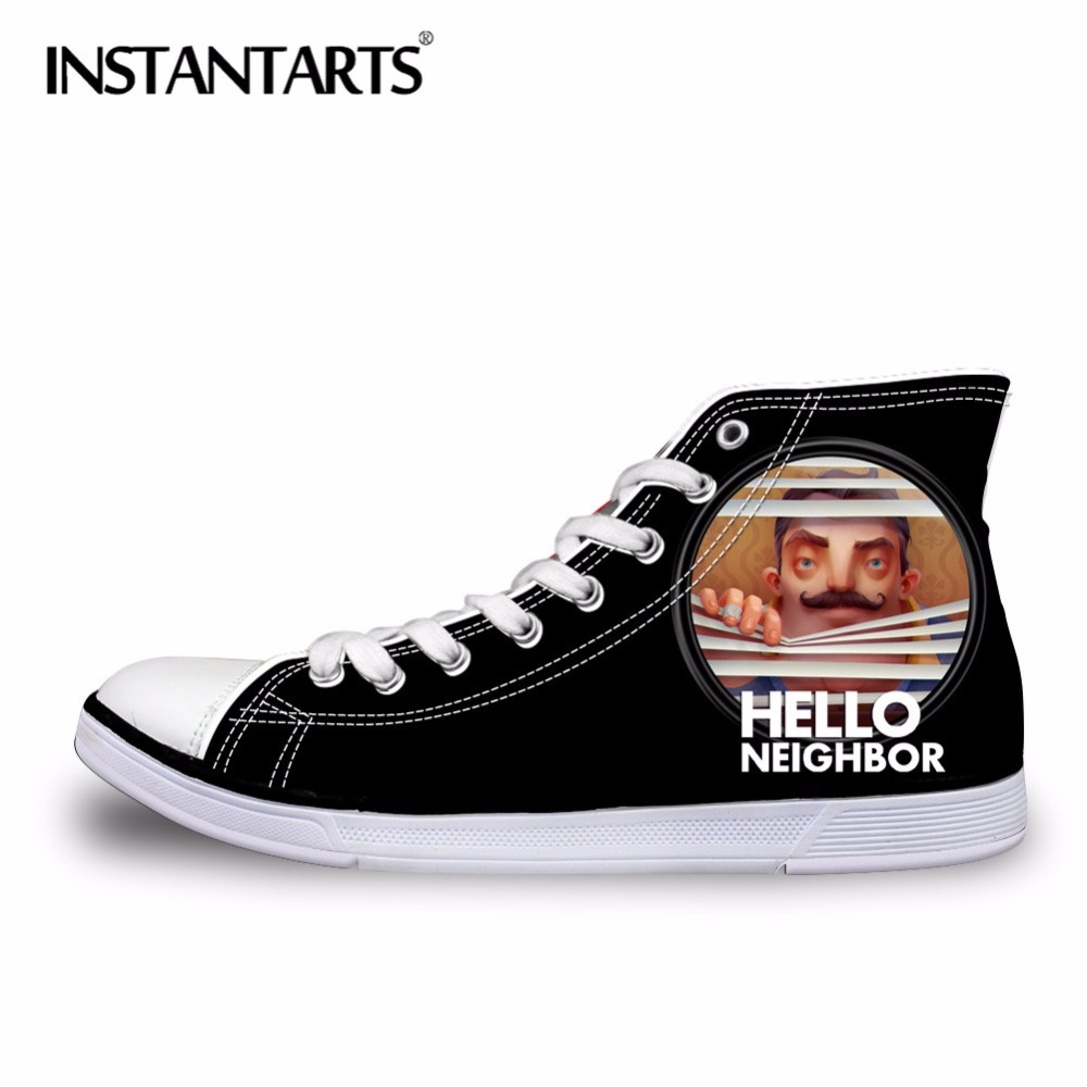 INSTANTARTS Autumn Fashion Male Shoes Men Classic High Top Canvas Shoes 3D Anime Hello Neighbor Print Flats Shoes for Teen Boy