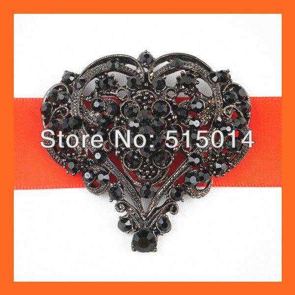 Free Shipping!(100pcs/lot )55*55mm Heart Black Vintage Rhinestone Brooch Pins For Wedding Invitation Card
