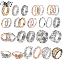 DINGLLY Silver Styles Stackable Eternal Love Ring For Couple Lovers Original Brands Ring Engagement Jewelry 2019 Hot Sale Gifts cuteeco hight quality silver color 22 styles stackable pan finger ring for women original ring engagement jewelry gifts