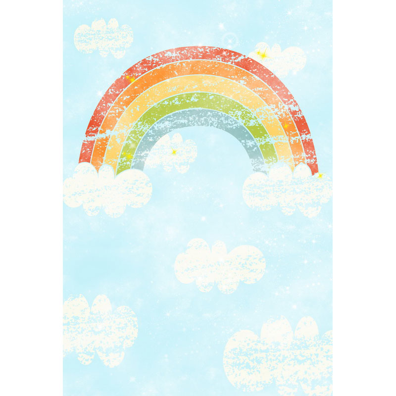 5X7ft photography backdrops White clouds Rainbow photo background computer printed newborns backdrops for photo studio F-3081