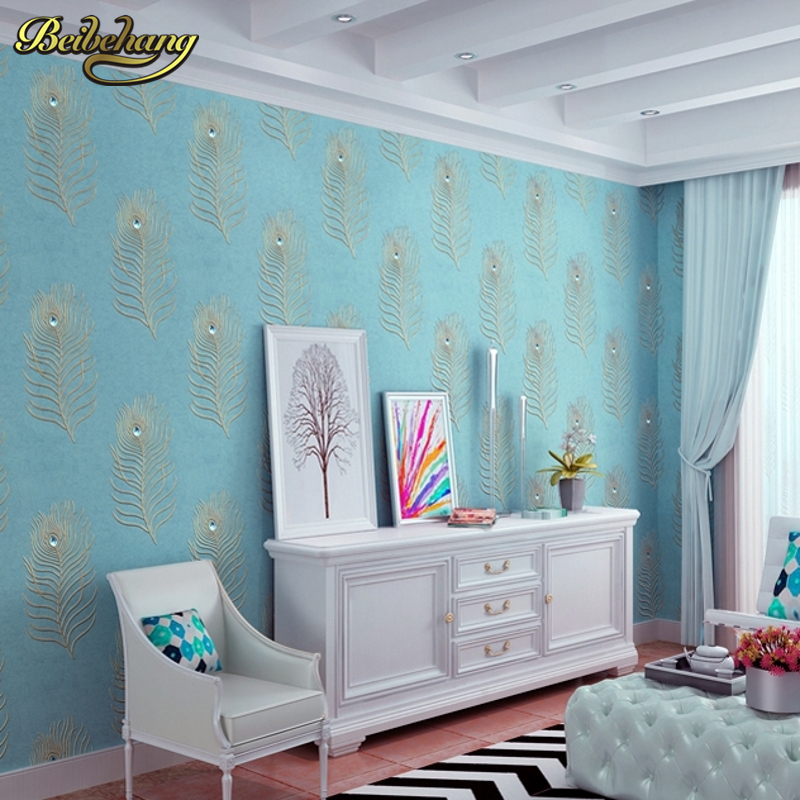 beibehang peacock blue feather bedroom living room TV background embroidery wallpaper Continental 3D drilling non - woven beibehang chinese peacock feather flower