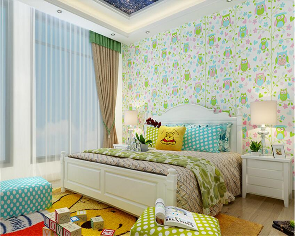 beibehang Fashion personality children's room wall paper girl boy bedroom warm owl bird non-woven papel de parede 3d wallpaper wall paper papel de parede 3d wallpaper pune romantic ballet girl princess room bedroom wallpaper non woven wallpaper children