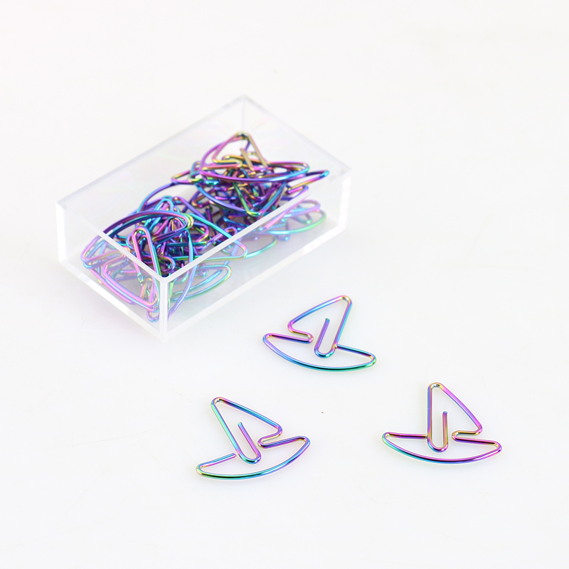 TUTU Metal Sailing Boat Shape Paper Clips Rainbow Color Funny Kawaii Bookmark Office School Stationery Marking Clips H0156