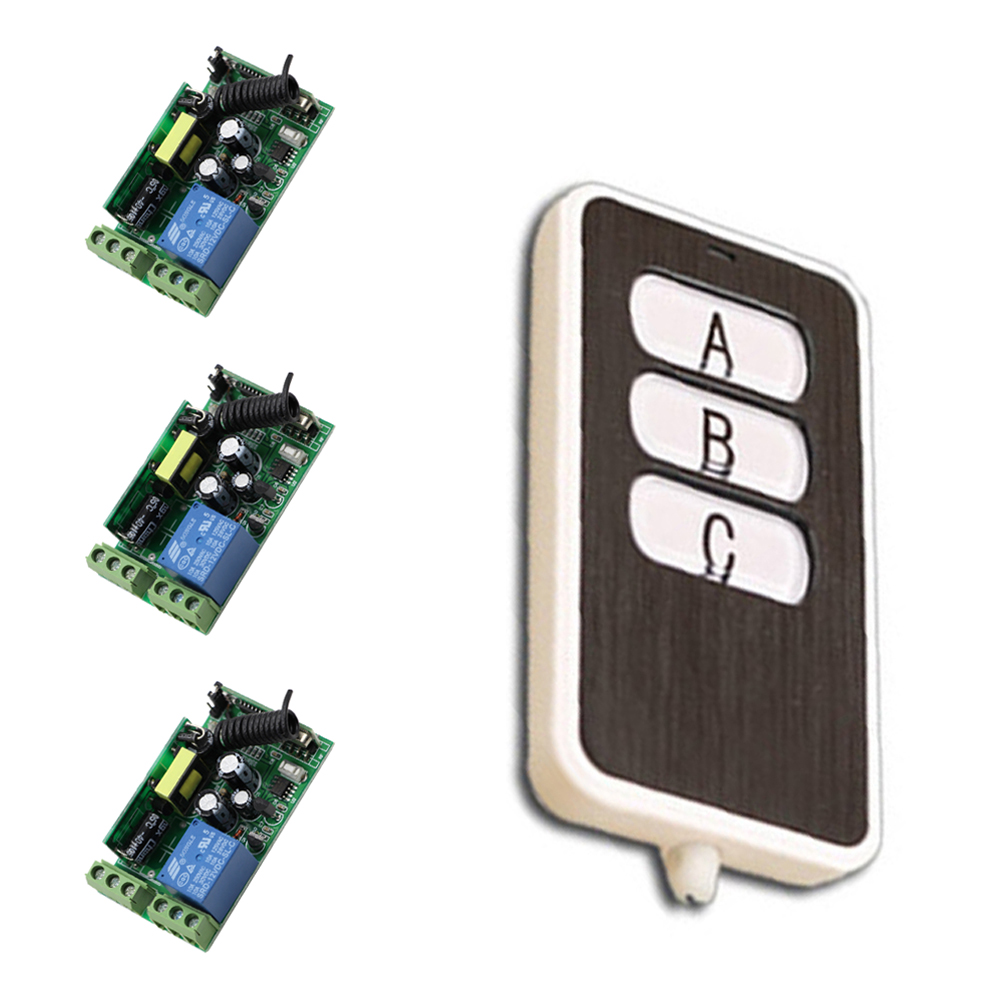AC 85V 110V 220V 250V Wireless Remote Control Switch 10A Relay Switch 3*Receiver +3Key Transmitter For Lamp Light LED 315/433Mhz 85v 250v remote relay control switch 8ch receiver