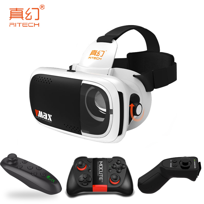 RITECH VMAX 3D VR Headset Virtual Reality Glasses BOX Pro Head Mount Cardboard for 4.7-6 Mobile Phone +Mocute Remote Controller
