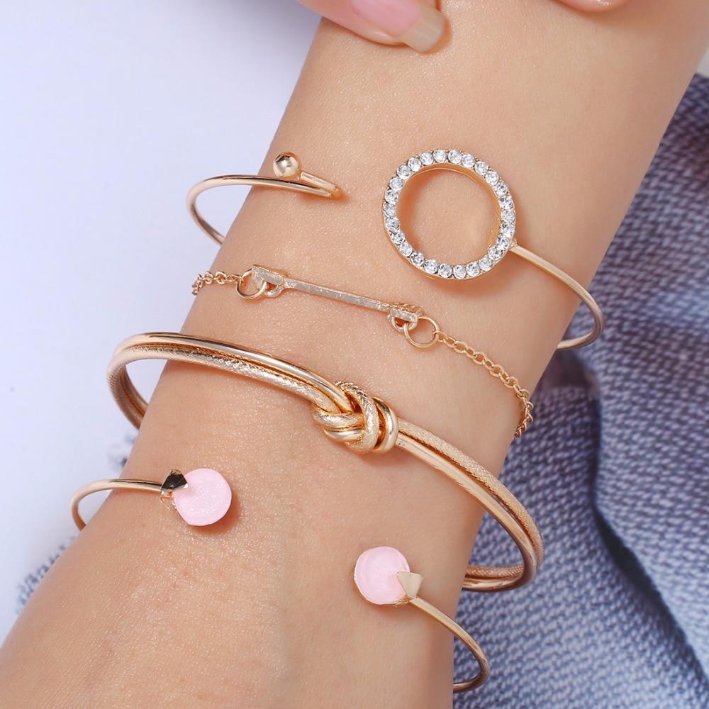 Bracelet Shell Jewelry Gift Tassel Heart-Charm Pink Retro Female Bohemian Map New