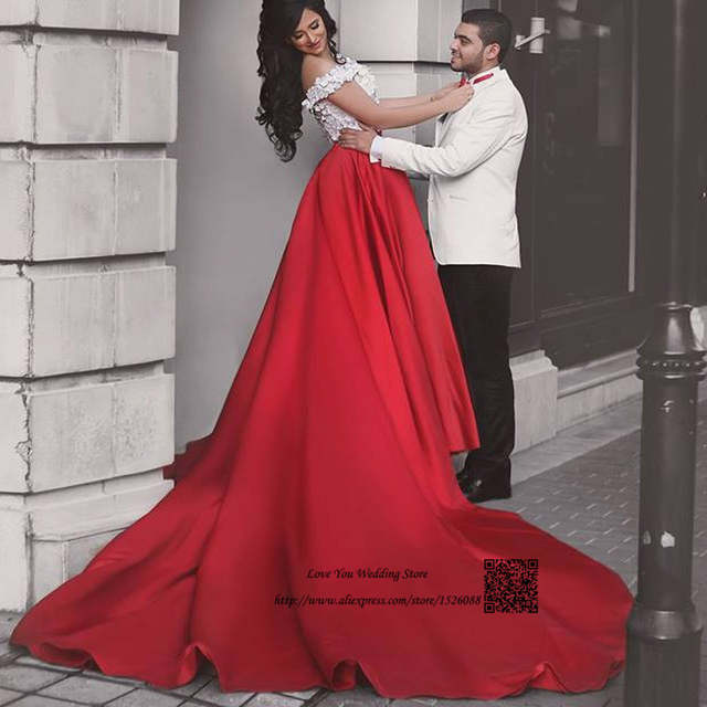 be71678ff71b placeholder Hippie White Red Arab 2 Piece Wedding Dress Long Train off  Shoulder Wedding Gowns Bride Dresses