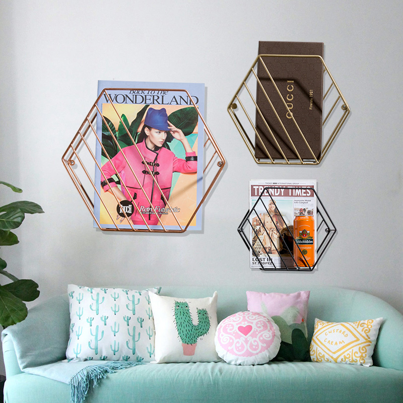 Hanging File Holder Organizer Hexagon Wall Mount Newspaper And Magazine Holder Rack