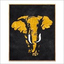 100% handmade oil painting golden elephant Africa animal on canvas for modern living room wall decor artwork unframed