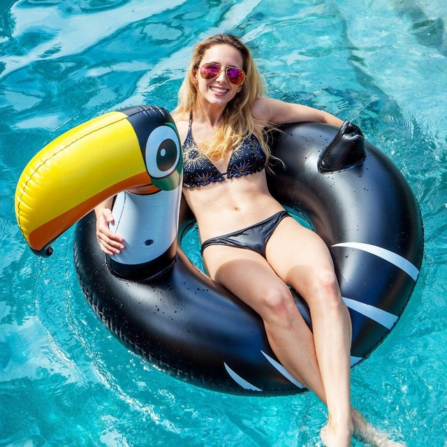 140cm Giant Inflatable Toucan Pool Float Ride-On Pelican Inflatable Swimming Ring Water Mattress Summer Beach Holiday Water Toys