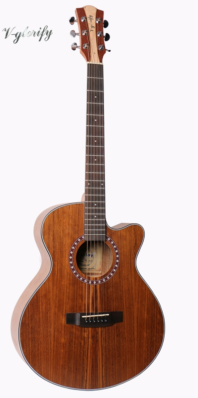 full zebra wood acoustic guitar with sharp cutway 40inch performance cutway classic guitar with hard case