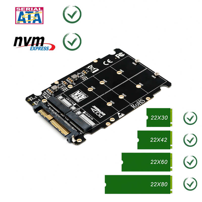 M.2 SSD to U.2 Adapter 2in1 M.2 NVMe and SATA-Bus NGFF SSD to PCI-e U.2 SFF-8639 Adapter PCIe M2 Converter for Desktop Computers