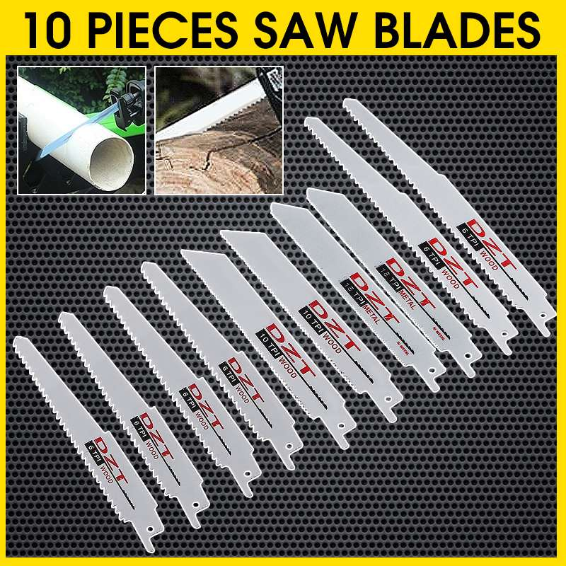 10Pcs Reciprocating Saw Blades High Carbon Steel 6/8 Inch 6/10/18 TPI Blade For Wood Metal Cutting Power Tools Accessories